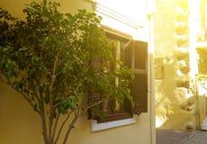 Gammalt trädörr och fönster Tappningfasad av huset crete Grekland Arkivfoton