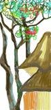 Gammalt träd och Japan hus i höst Arkivbild
