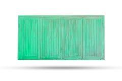 Gammalt trägrönt fönster på vit bakgrund Royaltyfri Fotografi