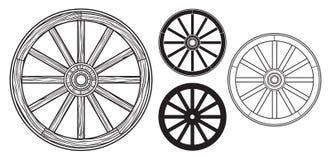 Gammalt trähjul royaltyfri illustrationer
