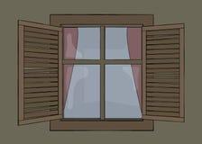 gammalt träslutarefönster Arkivfoto