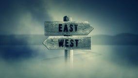 Gammalt trätecken på en mitt av en arg väg med de västra orden som är östliga eller vektor illustrationer