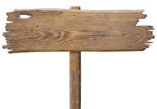 Gammalt trävägmärkebräde som isoleras på vit Royaltyfri Fotografi