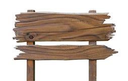 Gammalt trävägmärkebräde Träplatta som isoleras på vit med royaltyfri bild
