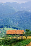 Gammalt traditionellt hus Carpathians Mountain View Royaltyfria Foton