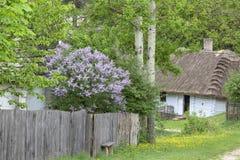 Gammalt traditionellt polskt trähus i museet för öppen luft, Tokarnia, Polen Royaltyfri Foto