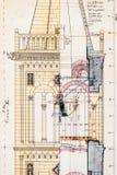 Gammalt utkast av det kyrkliga tornet av St Anastasia i Zadar stock illustrationer