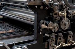 Gammalt utskrivande maskineri arkivfoto