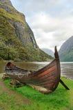 Gammalt viking fartyg i Norge Arkivfoto