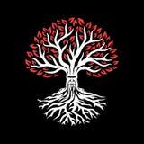 Gammalt vitt träd med röda sidor vidfäst mapptree för fantasi eps10 stock illustrationer