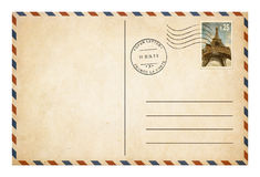 Gammalt vykort eller kuvert med isolat för portostämpel Royaltyfria Bilder