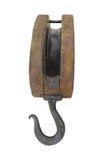 Gammalt wood block och redskap med den isolerade kroken. Royaltyfri Bild