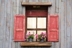 Gammalt wood fönster med blomman Fotografering för Bildbyråer