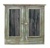 Gammalt wood kabinett med isolerade dörrar royaltyfri foto