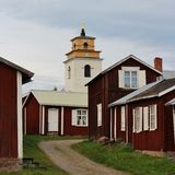 Gammelstad Church Town. This is the worlds largest and best preserved church town with more than 400 church cottages grouped around Norrlands largest medieval Stock Photo