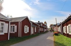 Gammelstad Church Town. This is the worlds largest and best preserved church town with more than 400 church cottages grouped around Norrlands largest medieval Stock Photography