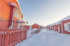 Gammelstad village. A street of the church village of Gammelstad in Sweden during winter. The village belongs to the Unesco heritage Stock Photos