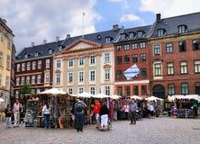 Gammeltorv,一个正方形在哥本哈根 图库摄影