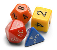 Gamming Dice. Four Roll Playing Gamer Dice Isolated on a White Background Royalty Free Stock Photo