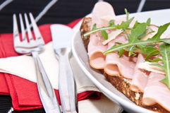 Gammon on bread Stock Photos