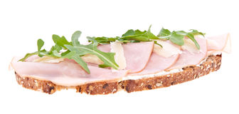 Gammon on bread isolated on white Royalty Free Stock Images