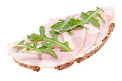 Gammon on bread isolated on white Stock Photography