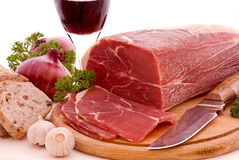 Gammon with Bread and Wine Stock Images