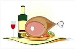 Gammon on dish with bottle of wine and vegetables. Gammon on dish with bottle of wine and fresh vegetables Royalty Free Stock Images
