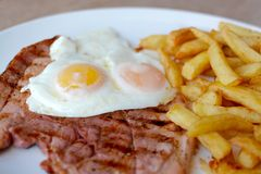 Gammon, egg, chips Stock Photo