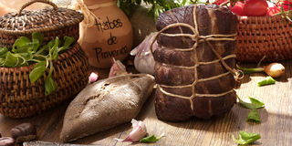 Gammon ham with tomotoes and juniper Stock Photo