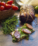 Gammon ham with tomotoes and juniper Royalty Free Stock Images