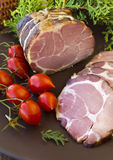 Gammon ham with tomotoes and juniper Stock Images