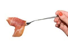 Gammon slice at fork Royalty Free Stock Image