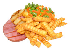Gammon Steak And Chips Royalty Free Stock Photo
