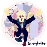 Gamophobia. Vector illustration with violet colors. Picture is about the most common phobia.  - fear of marriage vector illustration