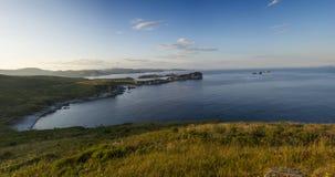 Gamow的俄国远东半岛 海岛告诉了Entrance 免版税库存图片