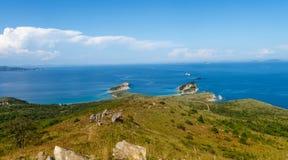 Gamow的俄国远东半岛 海岛告诉了Entrance 免版税库存照片