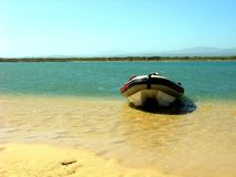 Gamtoosriver mouth Jeffreysbay. Boat on the Gamtoosriver mouth Jeffreysbay Stock Image