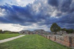 Gamzigrad, Felix Romuliana,Serbia. Gamzigrad, Felix Romuliana,ancient Roman palace,Zajecar,Serbia with stormy sky royalty free stock images