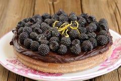 Νόστιμη στρογγυλή σπιτική πίτα σοκολάτας με το ganache, που διακοσμείται με Στοκ Εικόνες