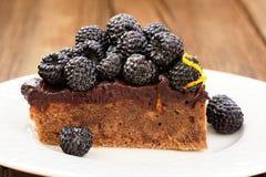 Κομμάτι της νόστιμης πίτας σοκολάτας με το ganache, που διακοσμείται με φρέσκο Στοκ φωτογραφία με δικαίωμα ελεύθερης χρήσης