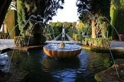 Ganada 西班牙 赫内拉利费宫庭院  库存照片