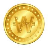 Ganado, moneda de oro de la moneda de la Corea del Sur con las estrellas Ilustración del vector aislada en el fondo blanco Elemen stock de ilustración