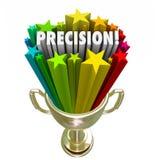 Ganador alcanzado meta exacta del trofeo del objetivo de la palabra de la precisión Fotografía de archivo libre de regalías