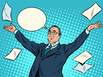 Ganador alegre del hombre de negocios ilustración del vector