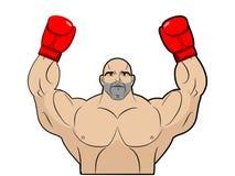 Ganador, campeón del boxeo Hombre fuerte en el fondo blanco Carrocería Foto de archivo libre de regalías