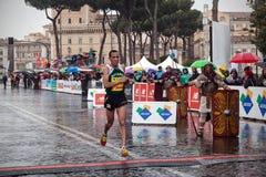 Ganador de Jamel Chatbi del tercer lugar en el maratón de 21 Roma Imagen de archivo