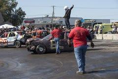 Ganador de la demolición derby en el top del coche Foto de archivo libre de regalías