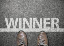 Ganador de la fraseología en línea del comienzo en la calle del camino, competencia de la raza imagen de archivo libre de regalías