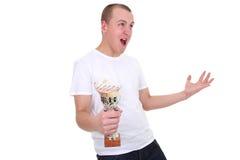Ganador de la lotería aislada en blanco imagen de archivo